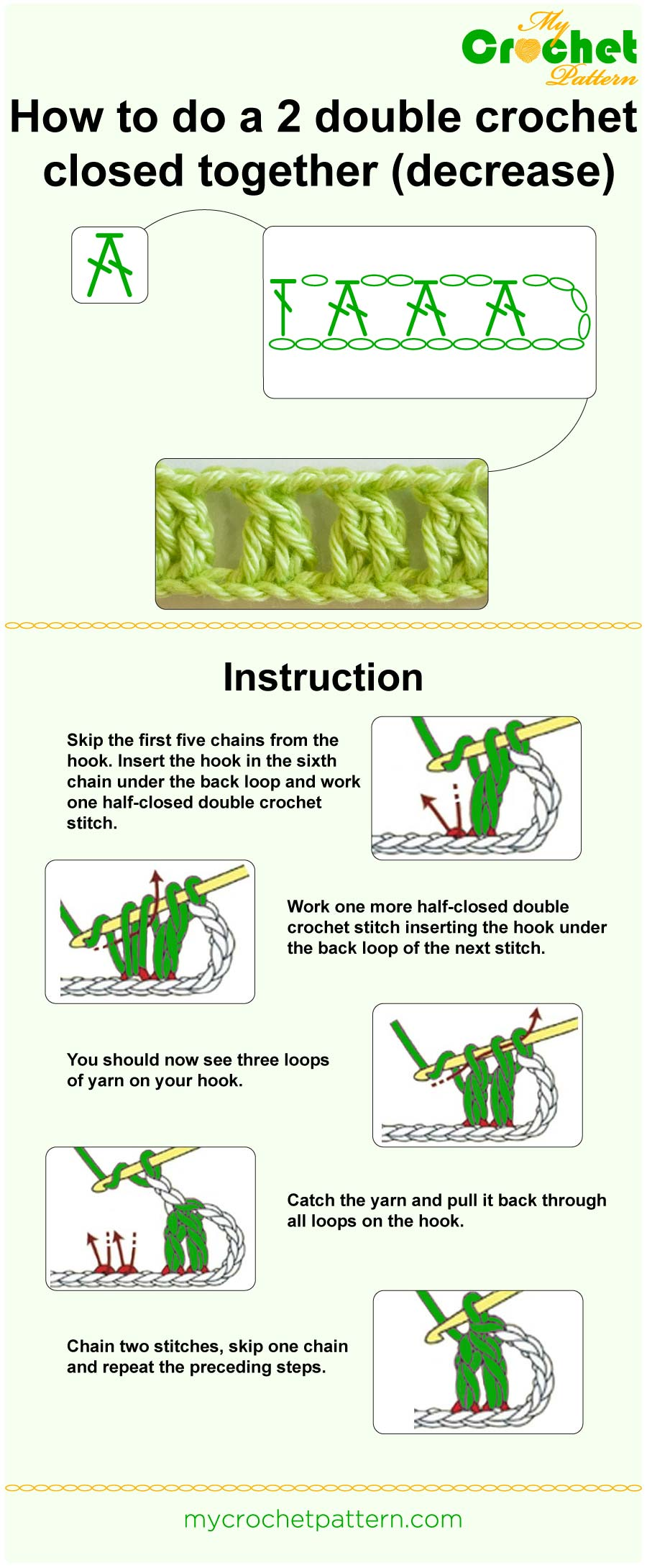 half double crochet 2 together instructions