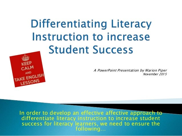 examples of differentiated instruction in shared reading